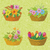 Seamless floral pattern, baskets with flowers — Stock Photo