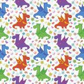Seamless pattern, cartoon colorful Dragons — Stockvector