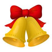 Campane di Natale d'oro con fiocco rosso — Vettoriale Stock