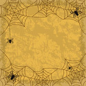Spiders and cobwebs on wall background — Vector de stock