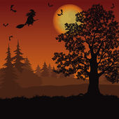 Halloween landscape with witch and trees — Vecteur