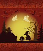 Halloween landscape, ghosts, pumpkins and witch — Stock Vector