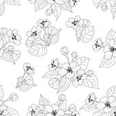 Seamless pattern, apple tree flowers contours — Stock Photo