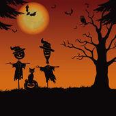 хэллоуин пейзаж, чучел и тыквы — Стоковое фото