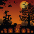 Halloween landscape with pumpkins Jack-o-lantern — Stock Photo #51100405