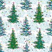Seamless pattern, Christmas trees and snowflakes — Vettoriale Stock