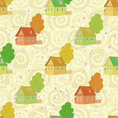 Seamless pattern, cartoon houses and trees — Vecteur