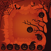 Halloween landscape, pumpkins, tree and spider — Stock Photo