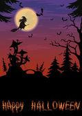 Halloween landskap med häxa — Stockfoto