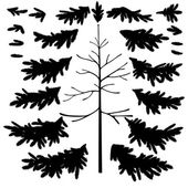 Christmas tree trunk and branches silhouettes — Stock Photo