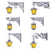 Vintage street lanterns with snow — Stock Photo