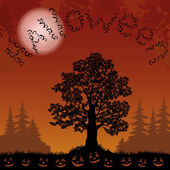 Halloween landscape with bats, trees and pumpkins — Stockvektor