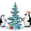 Penguins and Christmas tree — Stock Photo #7614302