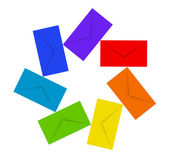 Round pile of colorful envelopes isolated on white — Stock Photo