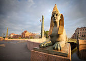 Sphinx chimera on Egyptian Bridge in Saint-Petersburg — Stock Photo