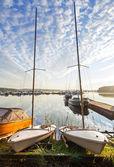 Two small sailboats on the coast — Stock Photo