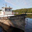 Fishing boat moored in the Imatra harbor — Stock Photo