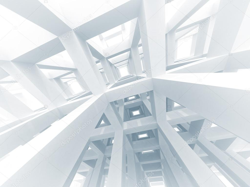 3d abstract architecture background. Internal space of a modern white braced construction — Stock Photo #12756608