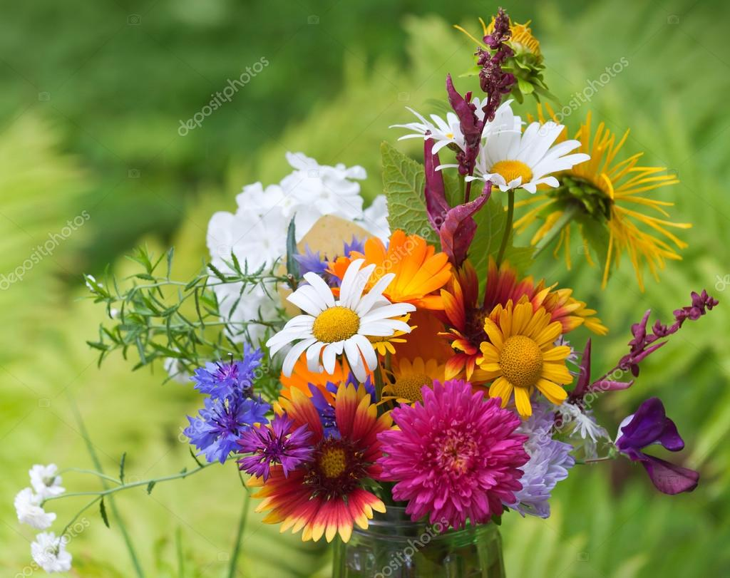 Bright colorful bouquet of garden and wild natural flowers — Stock ...