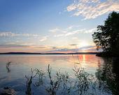 Coastal morning landscape. Saimaa lake — Stock Photo