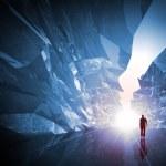 Man walks through the fantasy crystal corridor — Stock Photo