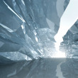 Bent crystal corridor with rugged walls and glowing end — Stockfoto