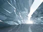Bent crystal corridor with rugged walls and glowing end — Stock Photo