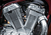 Shiny motorcycle engine fragment — Foto Stock