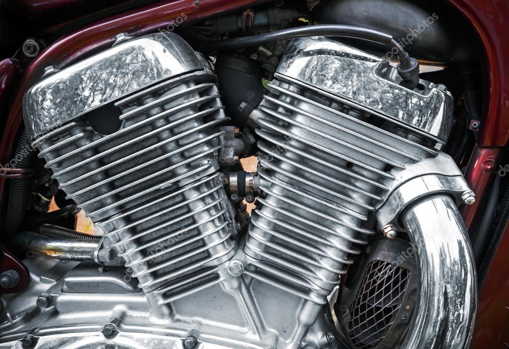 Shiny chromium-plated motorcycle engine closeup photo — Stock Photo #13514901