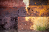 Rusted colorful metal wall detailed grunge photo — Stock Photo