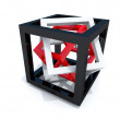 Black, white and red wire-frame cubes within each other — Stock Photo