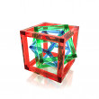 Red, green and blue wire-frame glass cubes within each other — Stock Photo