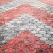 Cobblestone paving road with red and gray arrows — Stock Photo