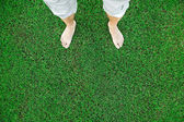 Bare feet of the man standing on green grass — Stock Photo