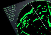 Closeup fragment of ships navigation radar screen — Stock Photo