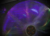 Rotating fan cooler with colorful LED illumination — Stock Photo