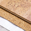 Laying technology of cork floor on concrete  base — Stock Photo