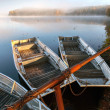 Foto Stock: Small metal rowboats on still foggy lake coast