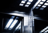 Abstract modern dark steel interior fragment — Stock Photo