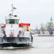 Small passenger ferry enters Helsinki port in winter — Stock Photo