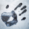 Male hand print on frozen windows glass — Stock Photo