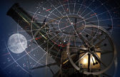 Astronomical abstract background with star map, old telescope and moon — Stock Photo