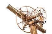 Vecchio vintage grande splendente telescopio ottone isolato su bianco — Foto Stock