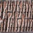 Huge set of different old wooden tableware — Stock Photo