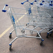 Supermarket shopping carts — Foto Stock