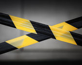 Black and yellow striped tapes. Restricted area border — Stock Photo