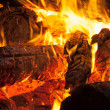Burning wood, campfire macro photo — Stock Photo