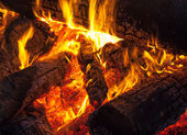 Spalania drewna w kominku, ognisku fotografia makro — Zdjęcie stockowe