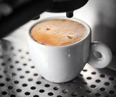White ceramic cup of fresh espresso coffee — Stok fotoğraf