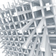 3d architecture light blue monochrome abstract. Modern white braced construction on white background — Stock Photo